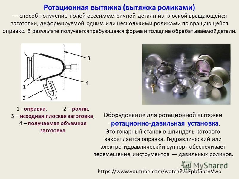 https://www.youtube.com/watch?v=Epbf5btnVwo Оборудование для ротационной вытяжки - ротационно-давильная установка. Это токарный станок в шпиндель которого закрепляется оправка. Гидравлический или электрогидравлический суппорт обеспечивает перемещение