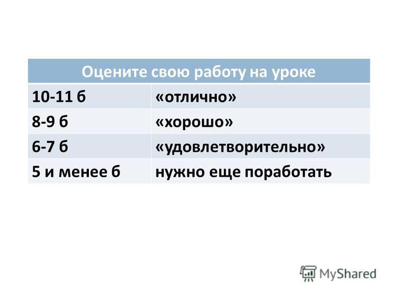 Оцените свою работу на уроке 10-11 б « отлично » 8-9 б « хорошо » 6-7 б « удовлетворительно » 5 и менее бнужно еще поработать