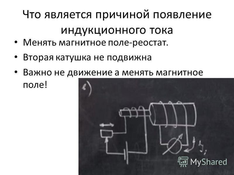 Что является причиной появление индукционного тока Менять магнитное поле-реостат. Вторая катушка не подвижна Важно не движение а менять магнитное поле!