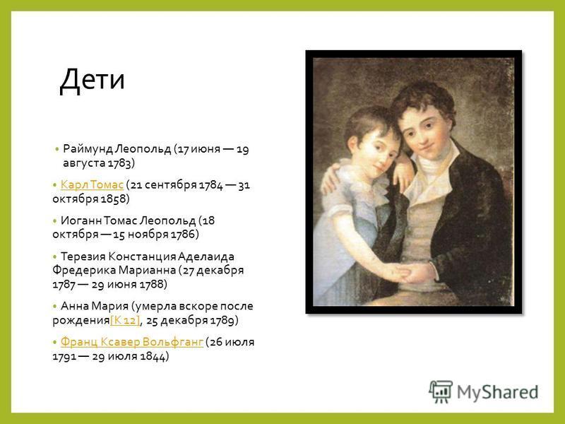 Дети Раймунд Леопольд (17 июня 19 августа 1783) Карл Томас (21 сентября 1784 31 октября 1858) Карл Томас Иоганн Томас Леопольд (18 октября 15 ноября 1786) Терезия Констанция Аделаида Фредерика Марианна (27 декабря 1787 29 июня 1788) Анна Мария (умерл