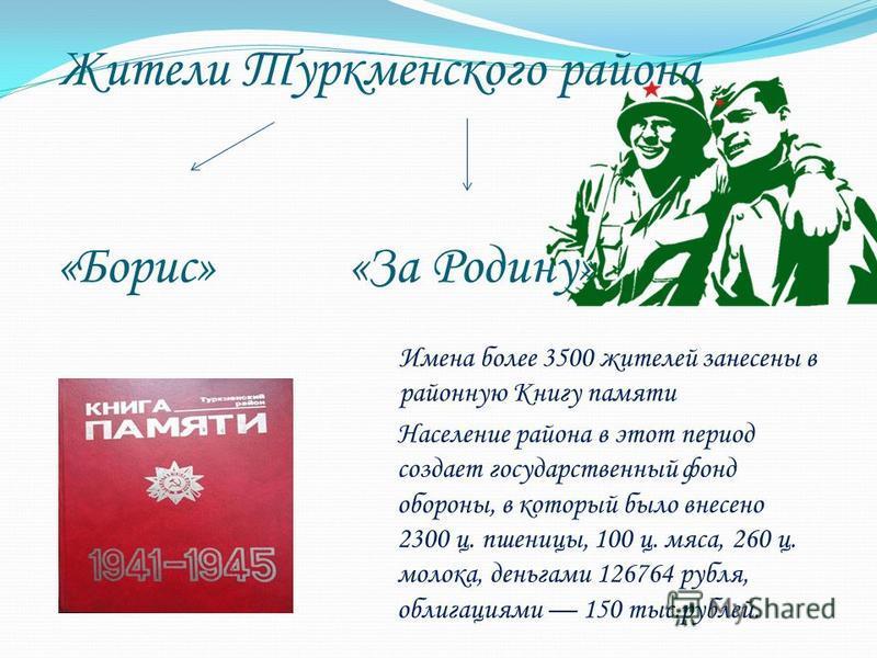 Жители Туркменского района «Борис» «За Родину» Имена более 3500 жителей занесены в районную Книгу памяти Население района в этот период создает государственный фонд обороны, в который было внесено 2300 ц. пшеницы, 100 ц. мяса, 260 ц. молока, деньгами