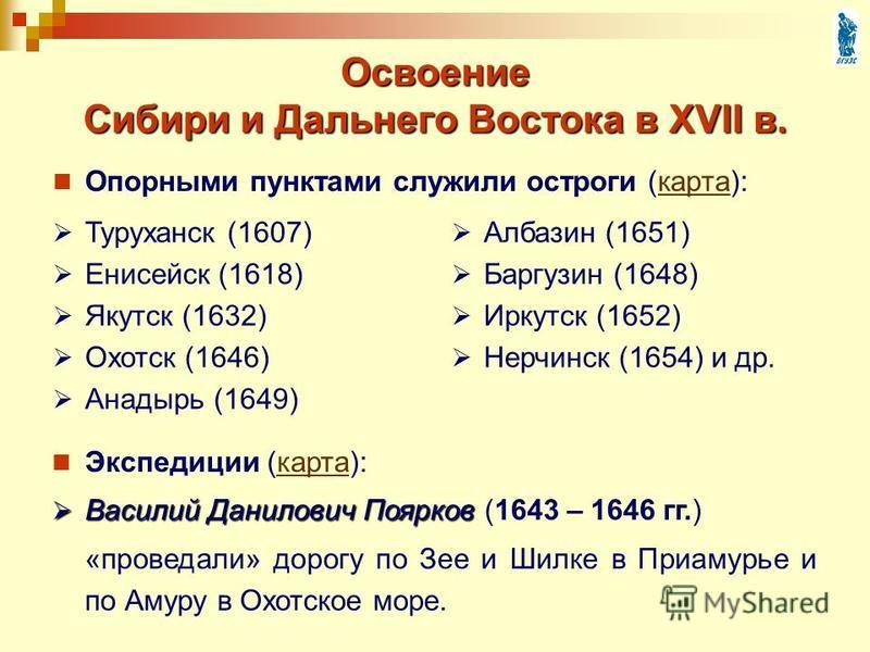 Освоение Сибири и Дальнего Востока в XVII в. Опорными пунктами служили остроги (карта):карта Туруханск (1607) Енисейск (1618) Якутск (1632) Охотск (1646) Анадырь (1649) Албазин (1651) Баргузин (1648) Иркутск (1652) Нерчинск (1654) и др. Экспедиции (к