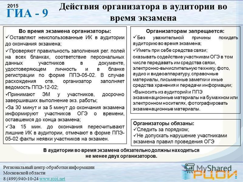 Региональный центр обработки информации Московской области 8 (499) 940-10-24 www.rcoi.netwww.rcoi.net ГИА - 9 2015 Во время экзамена организаторы: Оставляют неиспользованные ИК в аудитории до окончания экзамена; Проверяют правильность заполнения рег.