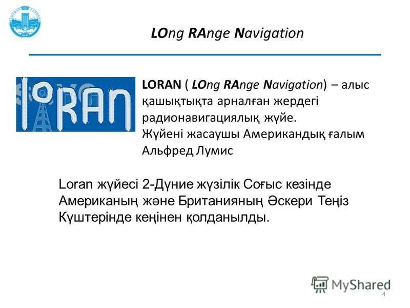 LOng RAnge Navigation LORAN ( LOng RAnge Navigation) – алис қашықтықта арналған жердегі радионавигациялық жүйе. Жүйені жасаушы Американдық ғалым Альфред Лумис 4 Loran жүйесі 2-Дүние жүзілік Соғыс кезінде Американың және Британияның Әскери Теңіз Күште