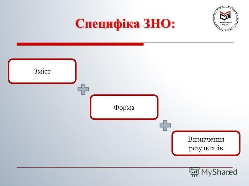 Специфіка ЗНО: 3 Форма Визначення результатів Зміст
