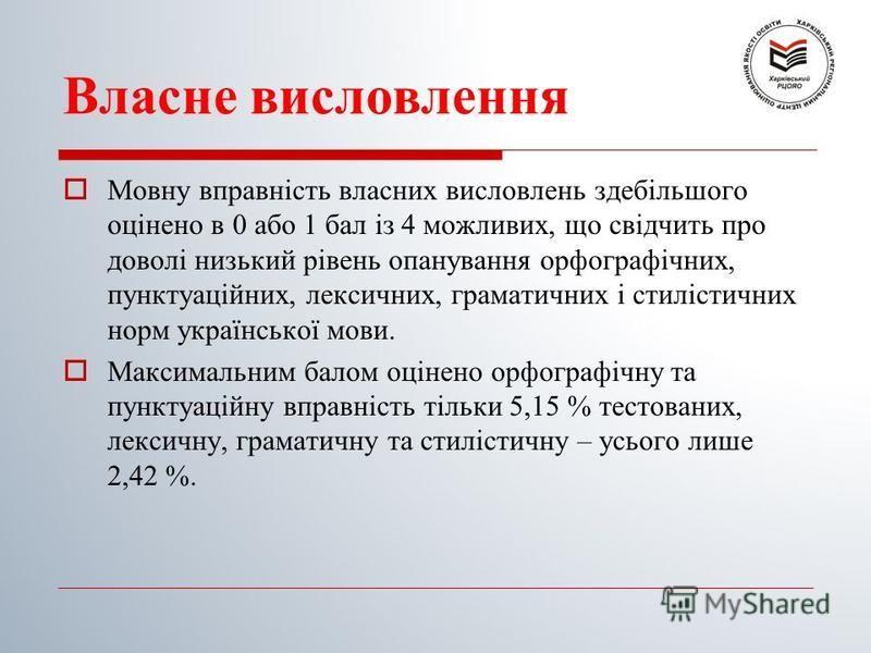 Власне висловлення Мовну вправність власних висловлень здебільшого оцінено в 0 або 1 бал із 4 можливих, що свідчить про доволі низький рівень опанування орфографічних, пунктуаційних, лексичних, граматичних і стилістичних норм української мови. Максим