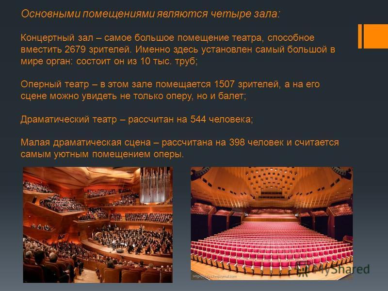 Основными помещениями являются четыре зала: Концертный зал – самое большое помещение театра, способное вместить 2679 зрителей. Именно здесь установлен самый большой в мире орган: состоит он из 10 тыс. труб; Оперный театр – в этом зале помещается 1507