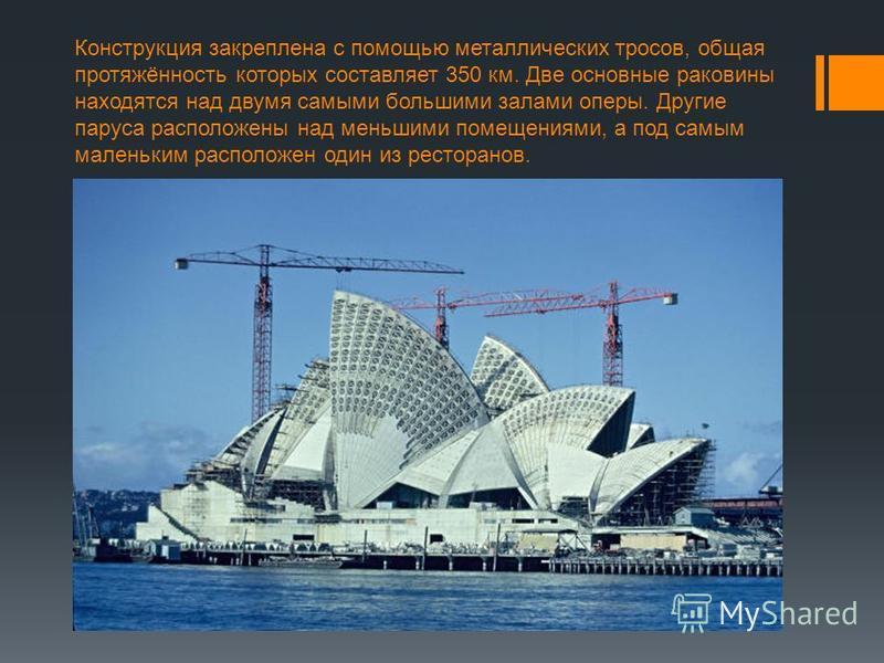 Конструкция закреплена с помощью металлических тросов, общая протяжённость которых составляет 350 км. Две основные раковины находятся над двумя самыми большими залами оперы. Другие паруса расположены над меньшими помещениями, а под самым маленьким ра