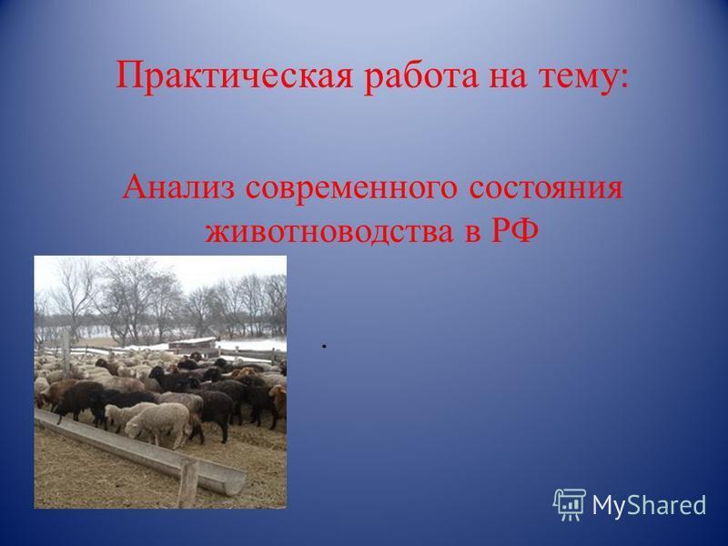 Практическая работа на тему :. Анализ современного состояния животноводства в РФ