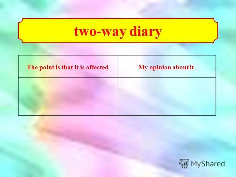 The point is that it is affectedMy opinion about it two-way diary