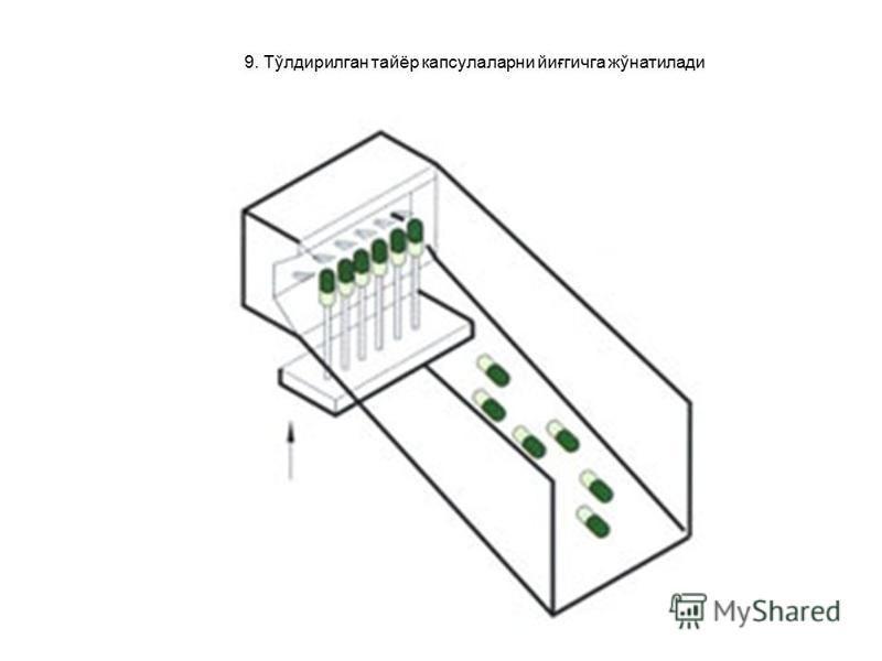 9. Тўлдирилган тайёр капсулаларни йиғгичга жўнатилади