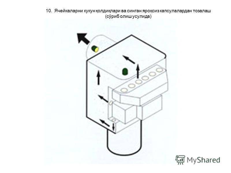 10. Ячейкаларни кукан қолдиқлари ва сянган яроқсиз капсулалардан тозалаш (сўриб олиш усулида)