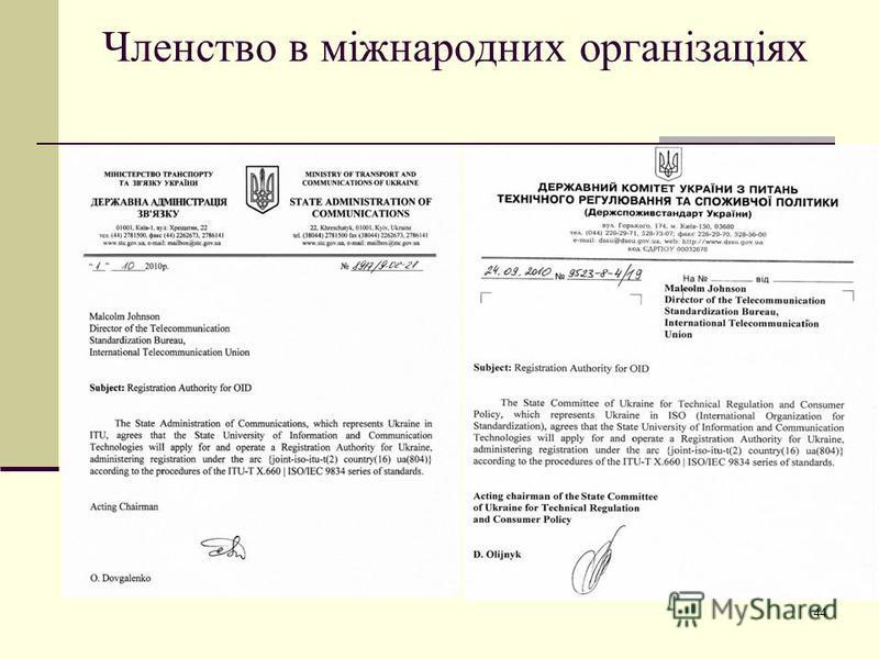 Членство в міжнародних організаціях 44