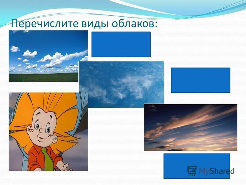 Перечислите виды облаков: Кучевые Перистые Слоистые