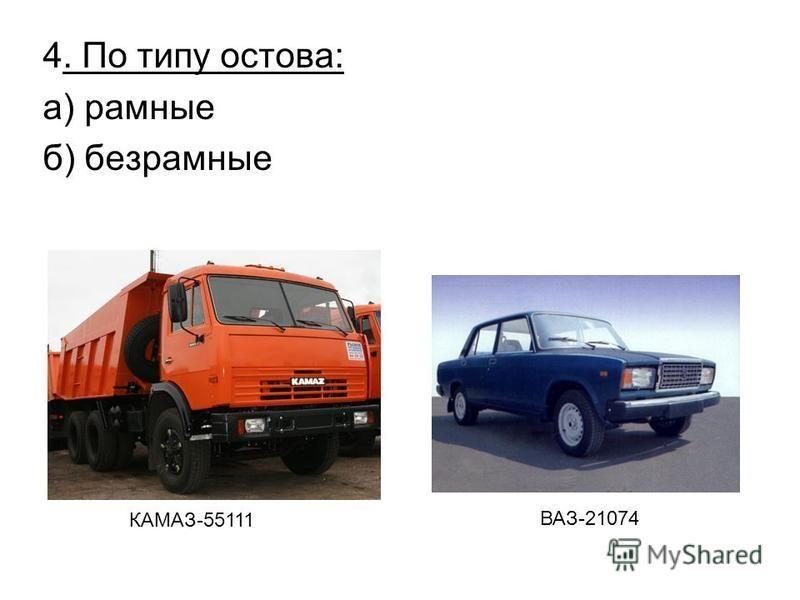 4. По типу остова: а) рамные б) безрамные КАМАЗ-55111 ВАЗ-21074