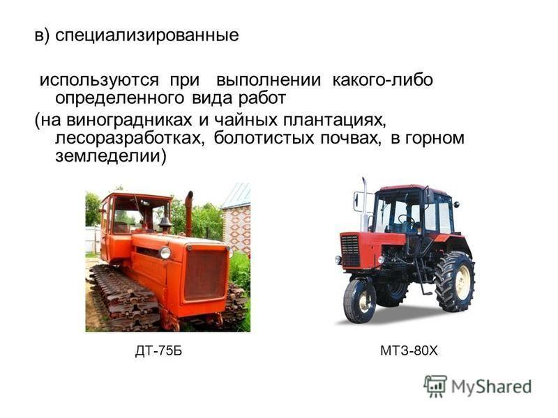 в) специализированные используются при выполнении какого-либо определенного вида работ (на виноградниках и чайных плантациях, лесоразработках, болотистых почвах, в горном земледелии) ДТ-75Б МТЗ-80Х