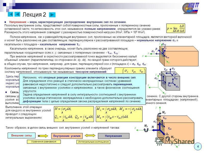 Лекция 1 ( продолжение – 1.3 ) 3 Поверхностные силы – силы, распределенные по поверхности (давление жидкости, газа или другого тела), характеризуемые интенсивностью давления, как предел отношения равнодействующей сил на рассматриваемой элементарной п