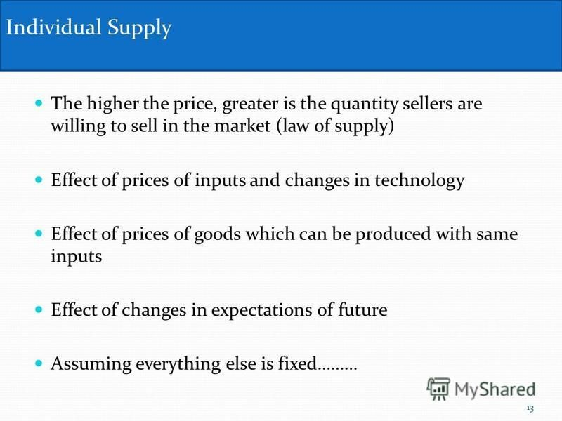 The higher the price, greater is the quantity sellers are willing to sell in the market (law of supply) Effect of prices of inputs and changes in technology Effect of prices of goods which can be produced with same inputs Effect of changes in expecta