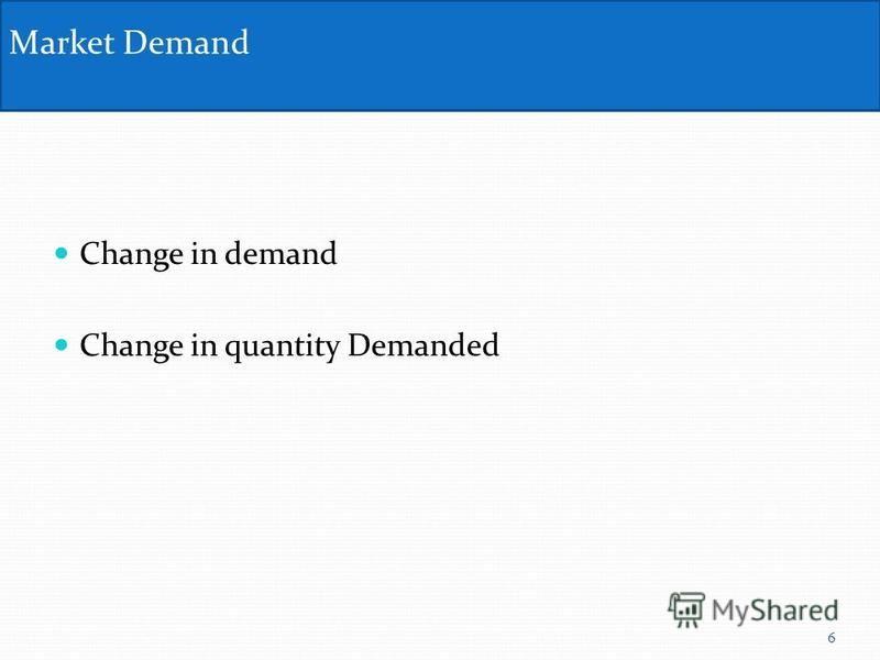 Change in demand Change in quantity Demanded Market Demand 6