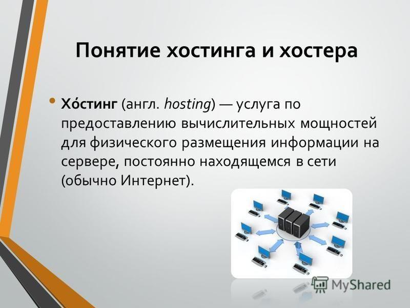 Понятие хостинга и хостера Хо́стинг (англ. hosting) услуга по предоставлению вычислительных мощностей для физического размещения информации на сервере, постоянно находящемся в сети (обычно Интернет).