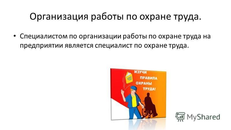 Организация работы по охране труда. Специалистом по организации работы по охране труда на предприятии является специалист по охране труда.