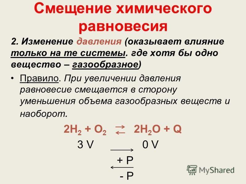 Смещение химического равновесия 2. Изменение давления (оказывает влияние только на те системы. где хотя бы одно вещество – газообразное) Правило. При увеличении давления равновесие смещается в сторону уменьшения объема газообразных веществ и наоборот