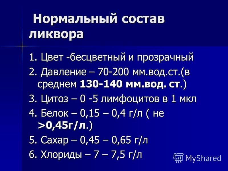 Нормальный состав ликвора Нормальный состав ликвора 1. Цвет -бесцветный и прозрачный 2. Давление – 70-200 мм.вод.ст.(в среднем 130-140 мм.вод. ст.) 3. Цитоз – 0 -5 лимфоцитов в 1 мкл 4. Белок – 0,15 – 0,4 г/л ( не >0,45 г/л.) 5. Сахар – 0,45 – 0,65 г