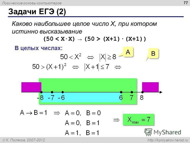 Логические основы компьютеров К. Поляков, 2007-2012 http://kpolyakov.narod.ru Задачи ЕГЭ (2) 77 Каково наибольшее целое число X, при котором истинно высказывание (50 (X+1)·(X+1)) В целых числах: A A B B