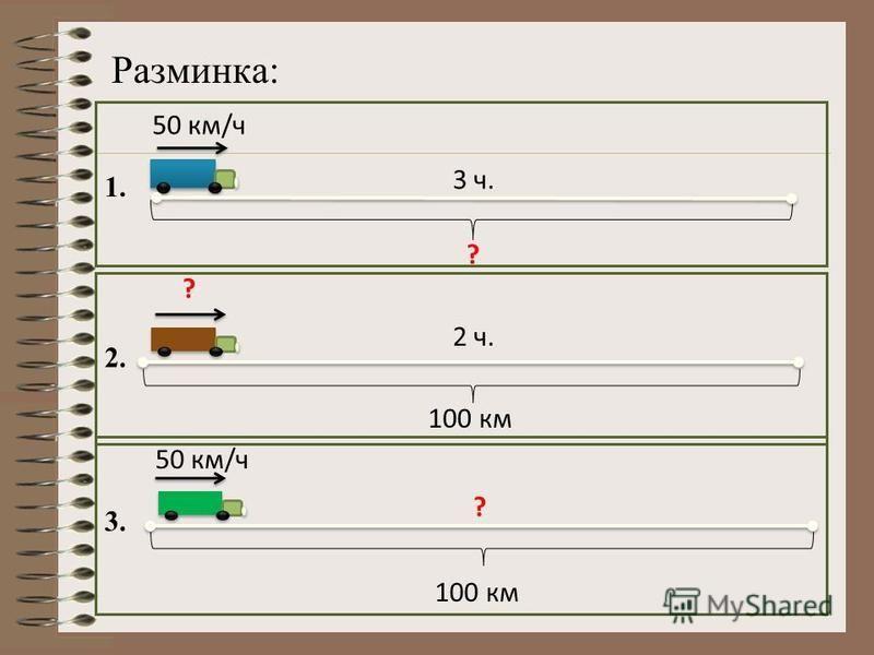 Разминка: 50 км/ч ? 3 ч. ? 2 ч. 100 км 50 км/ч ? 100 км 1. 2. 3.