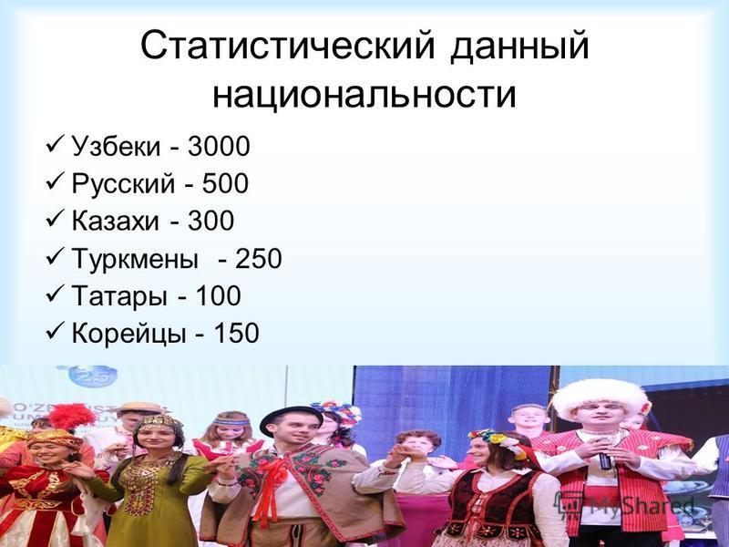 Статистический данный национальности Узбеки - 3000 Русский - 500 Казахи - 300 Туркмены - 250 Татары - 100 Корейцы - 150