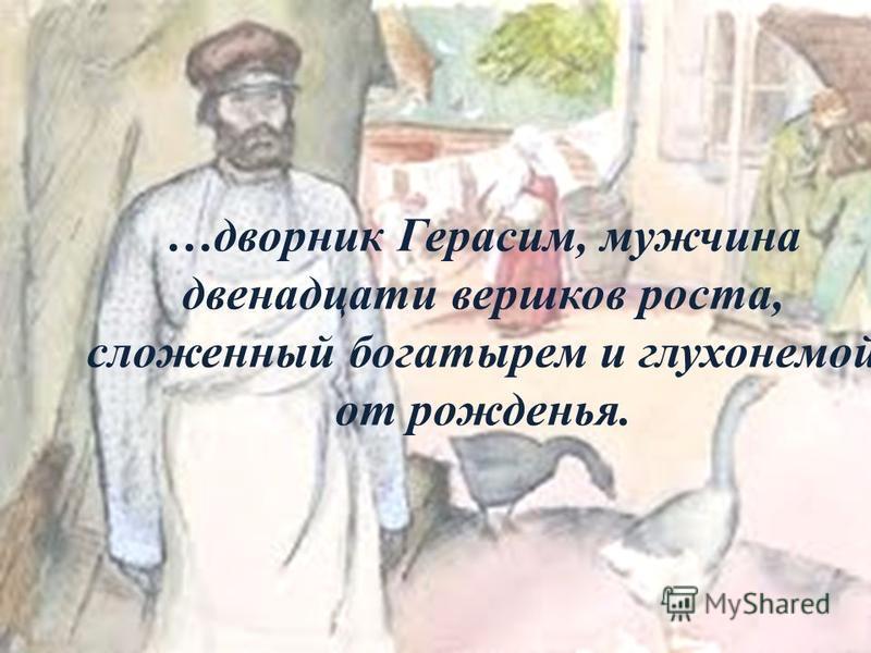 …дворник Герасим, мужчина двенадцати вершков роста, сложенный богатырем и глухонемой от рожденья.