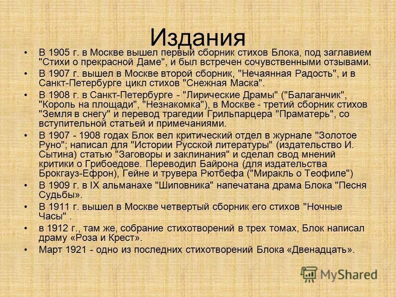 Издания В 1905 г. в Москве вышел первый сборник стихов Блока, под заглавием