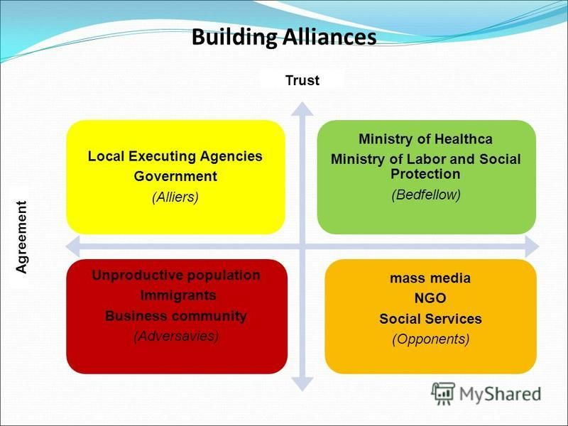 Building Alliances Local Executing Agencies Government (Alliers) Ministry of Healthca Ministry of Labor and Social Protection (Bedfellow) Unproductive population Immigrants Business community (Adversavies) mass media NGO Social Services (Opponents) T