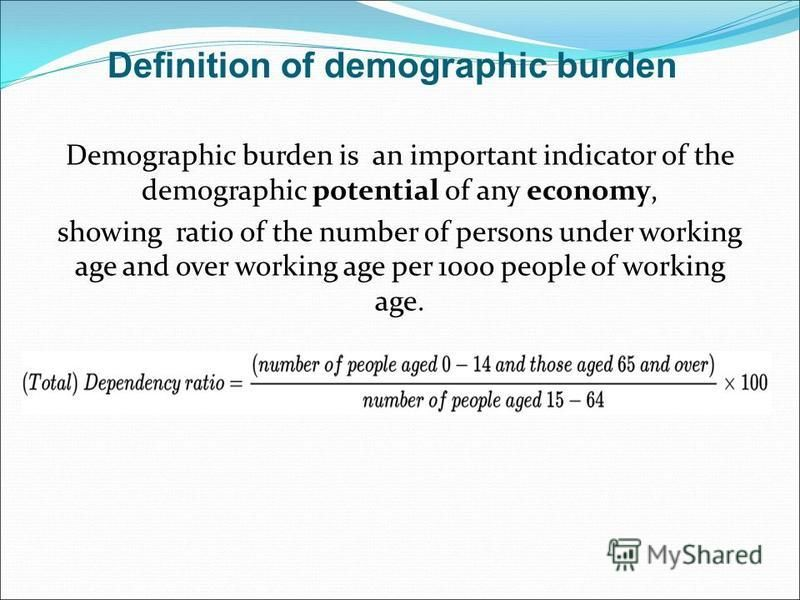 Definition of demographic burden Demographic burden is an important indicator of the demographic potential of any economy, showing ratio of the number of persons under working age and over working age per 1000 people of working age.