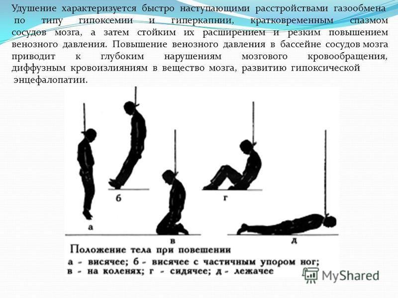 Удушение характеризуется быстро наступающими расстройствами газообмена по типу гипоксемии и гиперкапнии, кратковременным спазмом сосудов мозга, а затем стойким их расширением и резким повышением венозного давления. Повышение венозного давления в басс