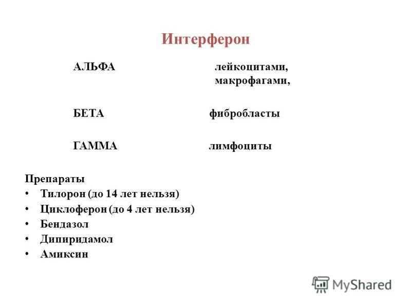 Интерферон АЛЬФА лейкоцитами, макрофагами, БЕТА фибробласты ГАММА лимфоциты Препараты Тилорон (до 14 лет нельзя) Циклоферон (до 4 лет нельзя) Бендазол Дипиридамол Амиксин