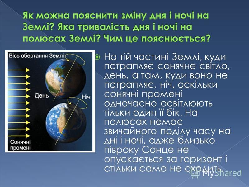 На тій частині Землі, куди потрапляє сонячне світло, день, а там, куди воно не потрапляє, ніч, оскільки сонячні промені одночасно освітлюють тільки один її бік. На полюсах немає звичайного поділу часу на дні і ночі, адже близько півроку Сонце не опус