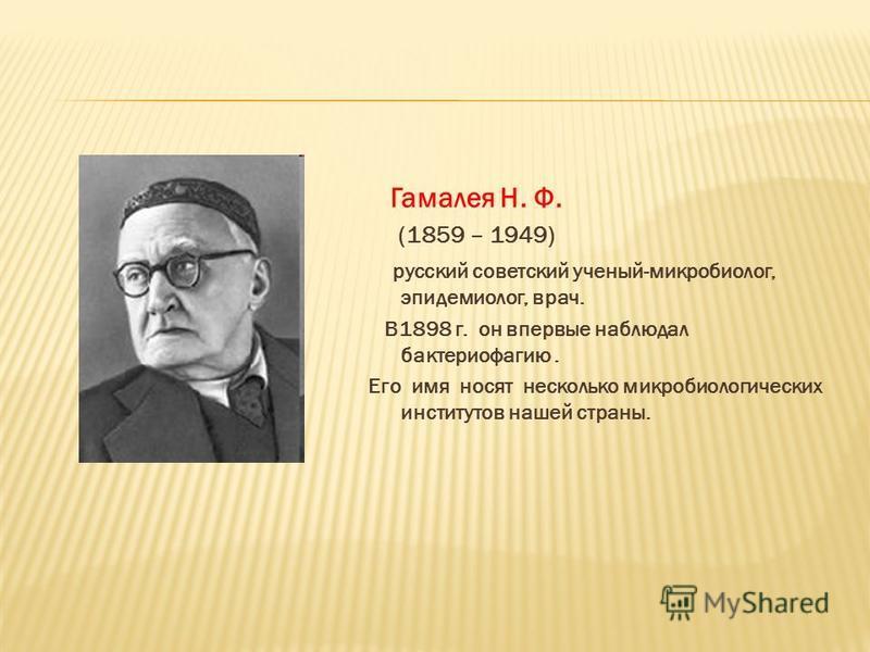 Гамалея Н. Ф. (1859 – 1949) русский советский ученый-микробиолог, эпидемиолог, врач. В1898 г. он впервые наблюдал бактериофагию. Его имя носят несколько микробиологических институтов нашей страны.