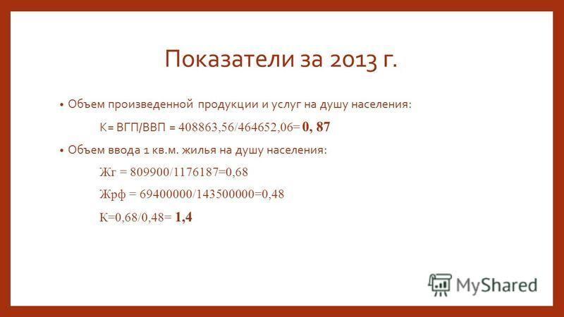 Показатели за 2013 г. Объем произведенной продукции и услуг на душу населения: К= ВГП/ВВП = 408863,56/464652,06= 0, 87 Объем ввода 1 кв.м. жилья на душу населения: Жг = 809900/1176187=0,68 Жрф = 69400000/143500000=0,48 К=0,68/0,48= 1,4