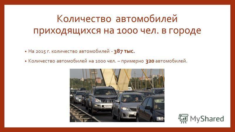 Количество автомобилей приходящихся на 1000 чел. в городе На 2015 г. количество автомобилей - 387 тыс. Количество автомобилей на 1000 чел. – примерно 320 автомобилей.