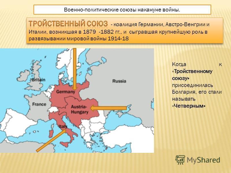 Военно-политические союзы накануне войны. Когда к «Тройственному союзу» присоединилась Болгария, его стали называть «Четверным»