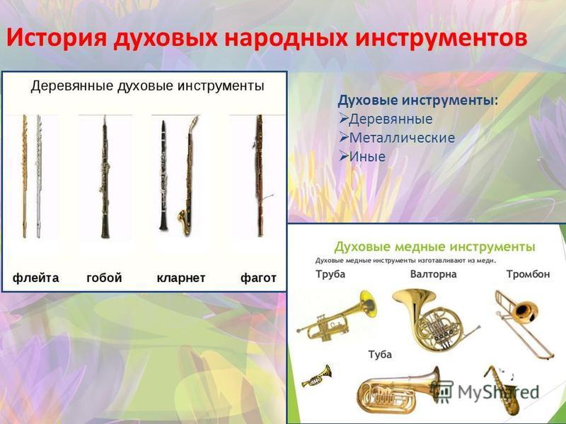История духовых народных инструментов Духовые инструменты: Деревянные Металлические Иные