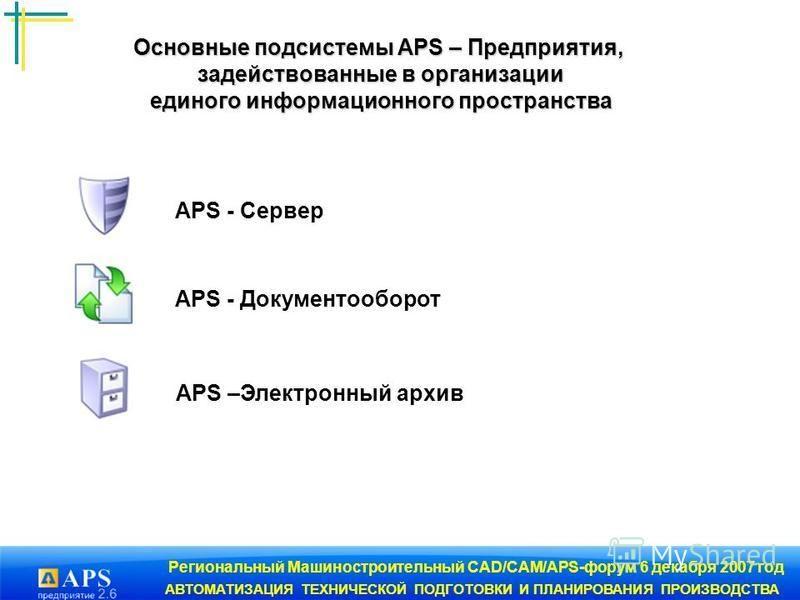 Региональный Машиностроительный CAD/CAM/APS-форум 6 декабря 2007 год АВТОМАТИЗАЦИЯ ТЕХНИЧЕСКОЙ ПОДГОТОВКИ И ПЛАНИРОВАНИЯ ПРОИЗВОДСТВА Основные подсистемы APS – Предприятия, задействованные в организации единого информационного пространства единого ин