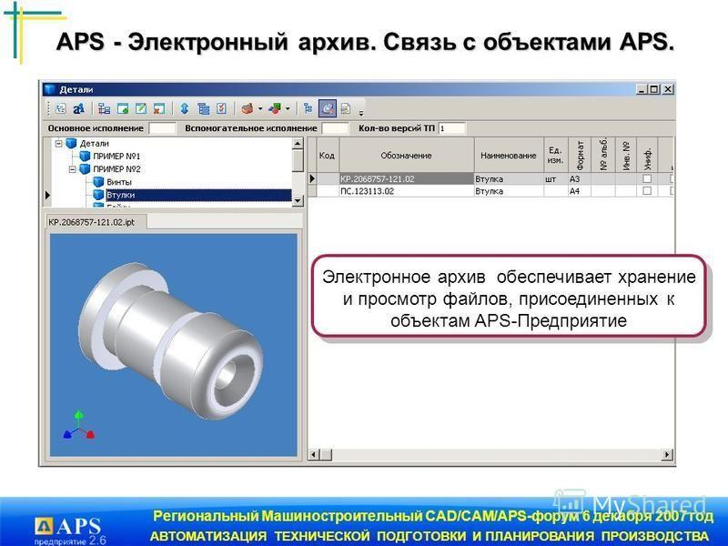 Региональный Машиностроительный CAD/CAM/APS-форум 6 декабря 2007 год АВТОМАТИЗАЦИЯ ТЕХНИЧЕСКОЙ ПОДГОТОВКИ И ПЛАНИРОВАНИЯ ПРОИЗВОДСТВА Электронное архив обеспечивает хранение и просмотр файлов, присоединенных к объектам APS-Предприятие APS - Электронн