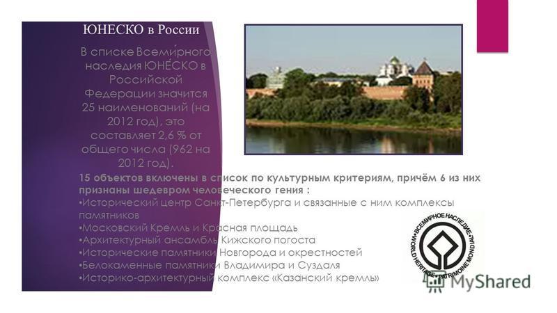 ЮНЕСКО в России В списке Всемирного наследия ЮНЕСКО в Российской Федерации значится 25 наименований (на 2012 год), это составляет 2,6 % от общего числа (962 на 2012 год). 15 объектов включены в список по культурным критериям, причём 6 из них признаны