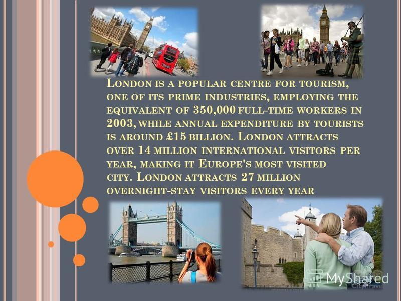 L ONDON IS A POPULAR CENTRE FOR TOURISM, ONE OF ITS PRIME INDUSTRIES, EMPLOYING THE EQUIVALENT OF 350,000 FULL - TIME WORKERS IN 2003, WHILE ANNUAL EXPENDITURE BY TOURISTS IS AROUND £15 BILLION. L ONDON ATTRACTS OVER 14 MILLION INTERNATIONAL VISITORS