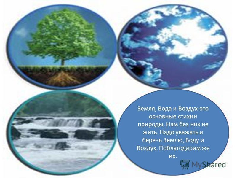 Земля, Вода и Воздух-это основные стихии природы. Нам без них не жить. Надо уважать и беречь Землю, Воду и Воздух. Поблагодарим же их.