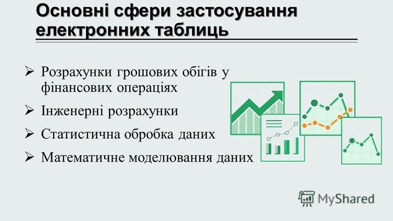 Основні сфери застосування електронних таблиць Основні сфери застосування електронних таблиць Розрахунки грошових обігів у фінансових операціях Інженерні розрахунки Статистична обробка даних Математичне моделювання даних