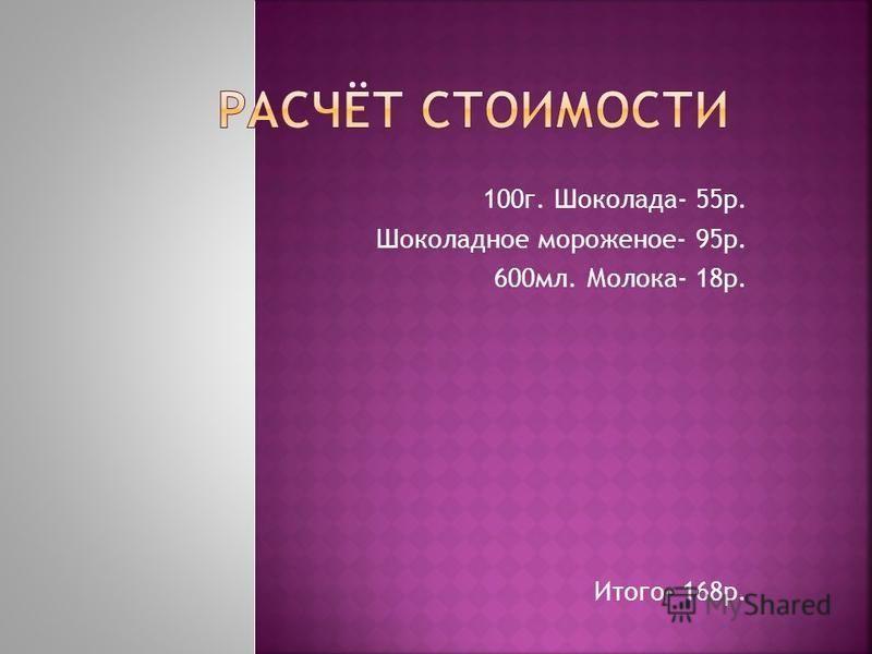 100 г. Шоколада- 55 р. Шоколадное мороженое- 95 р. 600 мл. Молока- 18 р. Итого- 168 р.