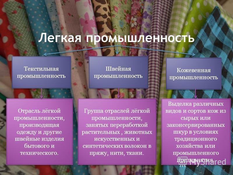 Легкая промышленность Текстильная промышленность Швейная промышленность Кожевенная промышленность Отрасль лёгкой промышленности, производящая одежду и другие швейные изделия бытового и технического. Группа отраслей лёгкой промышленности, занятых пере